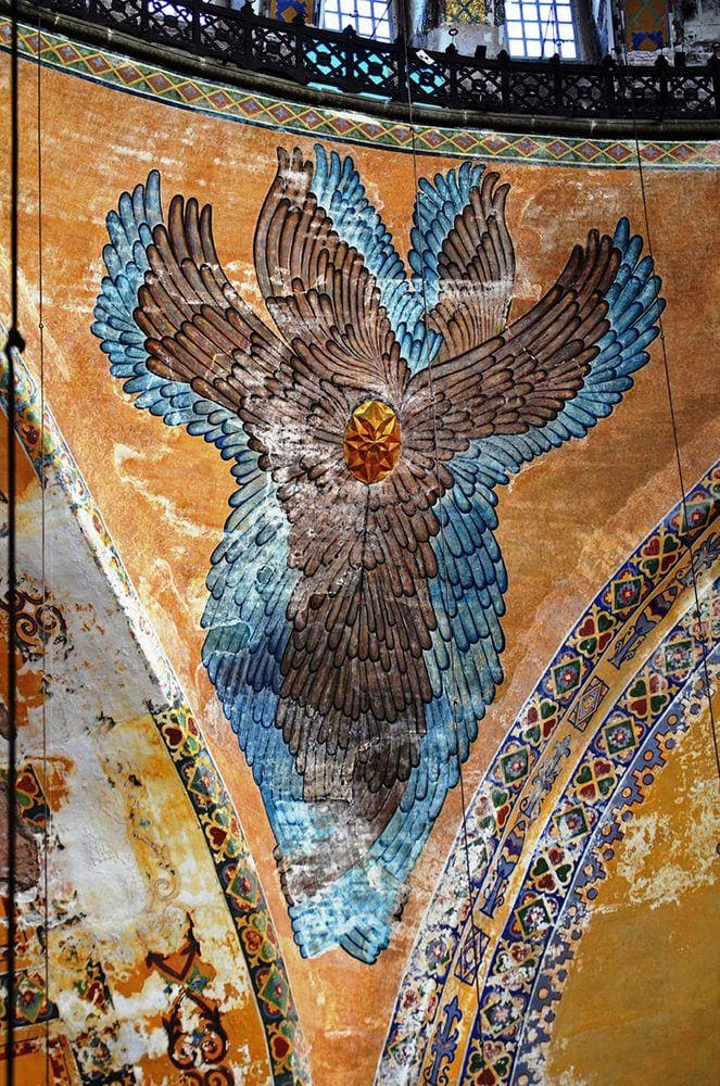 Painting of Hexapterygon - the six winged angel in Hagia Sophia, Istanbul