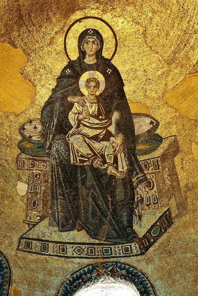 Mosaic with Theotokos - Virgin Mother and Child, Hagia Sophia in Istanbul