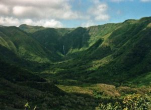 Halawa Valley and Hipuapua Falls. It is possible that white spot to the left from falls is a spot of Moa'ula Falls