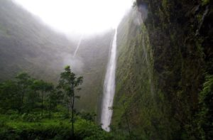 Lower part of Hiilawe Falls in Waipio Valley, Hawaii