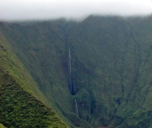 Honokohau Falls from the air, Hawaii