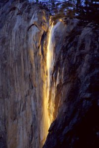 Horsetail Falls illuminated by the Sun