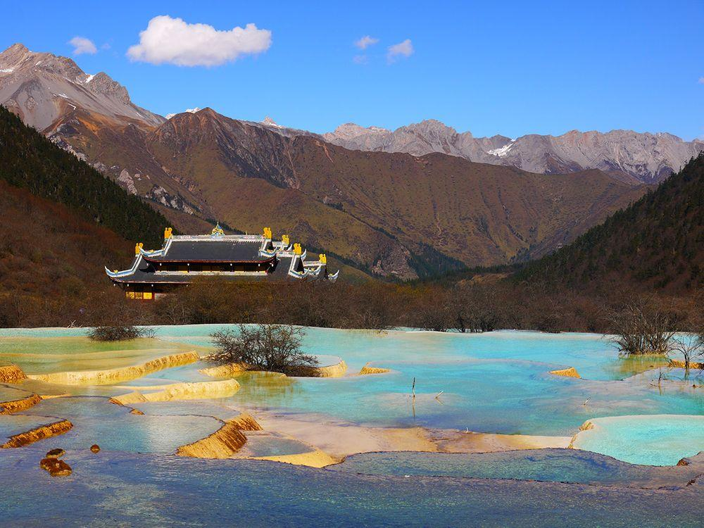 Multicolored Pond and Huanglong Temple, China