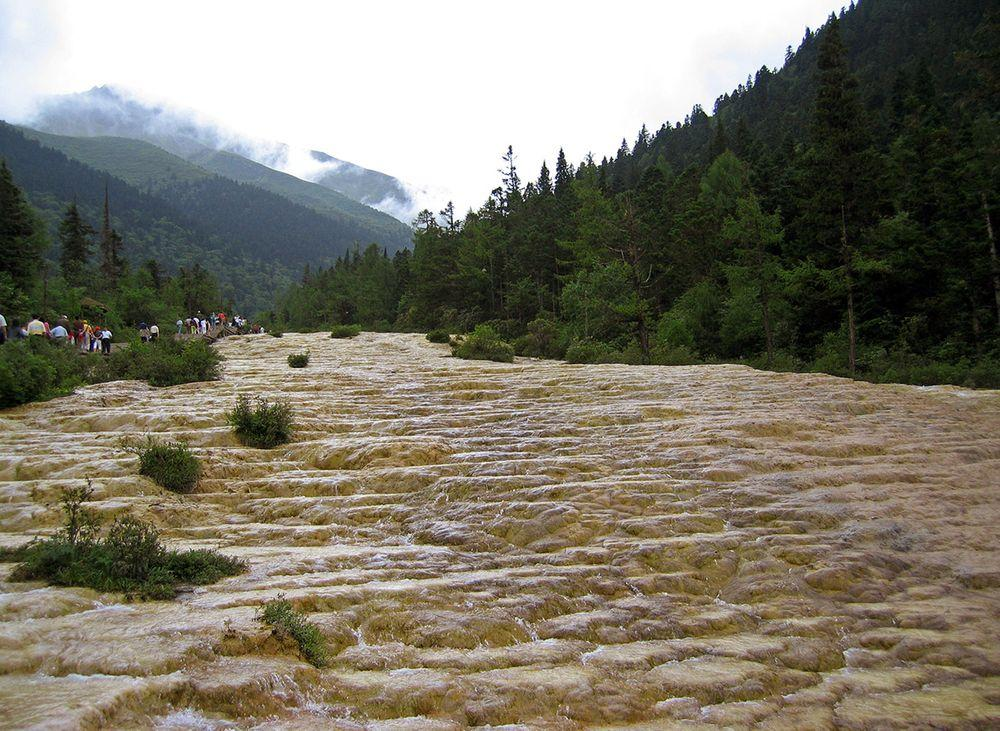 Golden Sand Pavement in Huanglong Valley, China