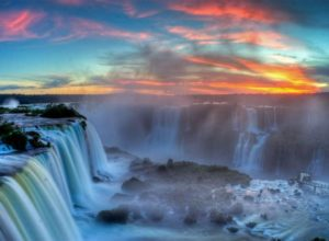 Sunset at Iguazu Falls, from Brazil