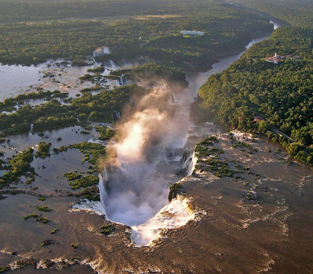 Iguazu Falls from air. Brazil to the right, Argentina - to the left