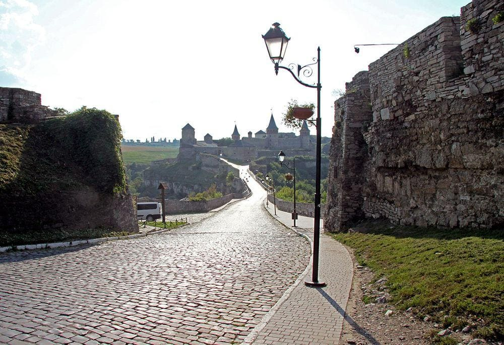 Leaving Kamianets-Podilskyi towards the medieval castle, Ukraine