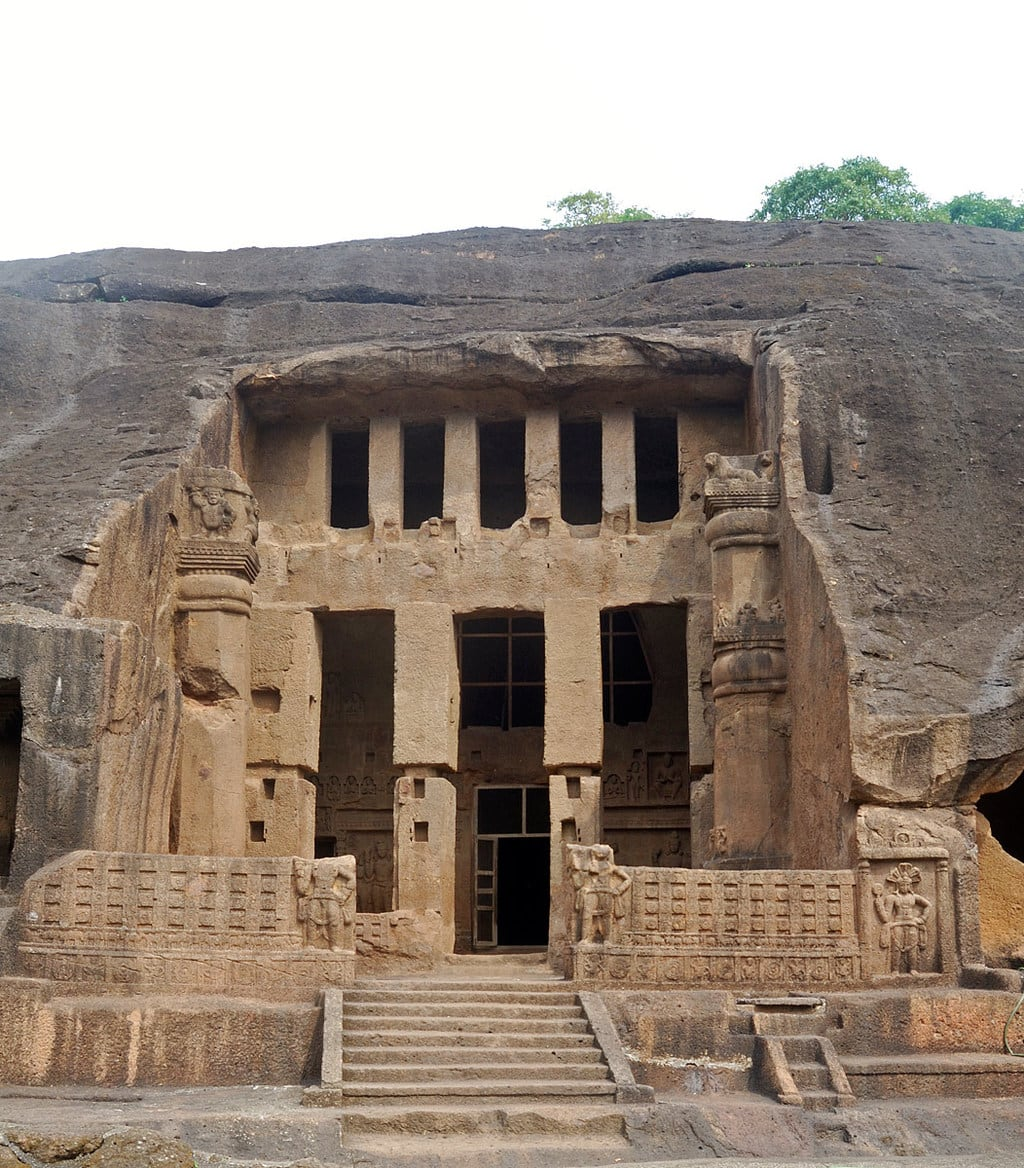 Kanheri Caves in India. Entrance in Cave 3 - the great chaitya. Giant Buddhas are not visible here.