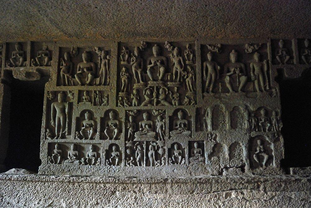 Reliefs in Cave 90, Kanheri Caves in India
