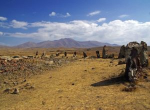 One side of Karahunj stone circle, with the central stone cyst seen in the left side, Armenia
