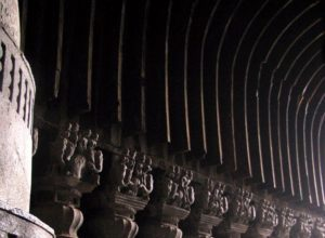 Karla Caves, the most magnificent rock-cut chaitya in India. Note the ancient wooden details
