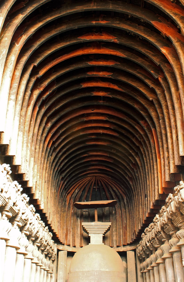 Karla Caves, wooden details of chhatri