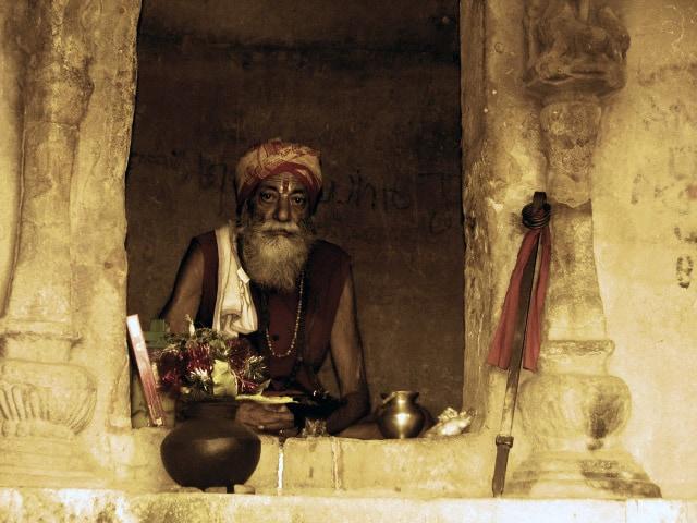 Holy man in Khandagiri Cave, India