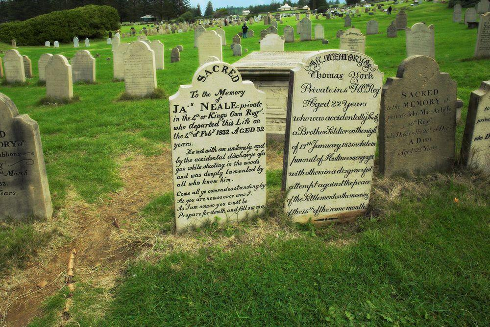 Tombstones in Kingston Graveyard, Norfolk Island