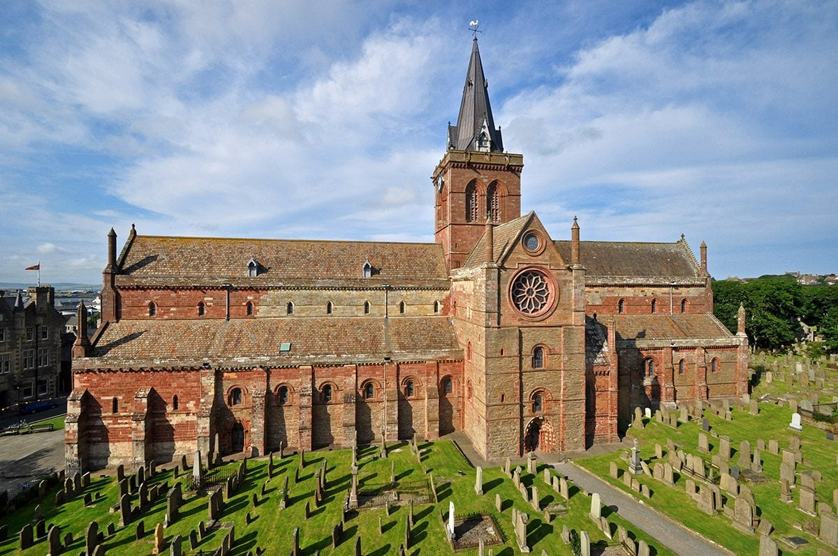 St. Magnus Cathedral in Kirkwall, one of the best examples of Norman architecture