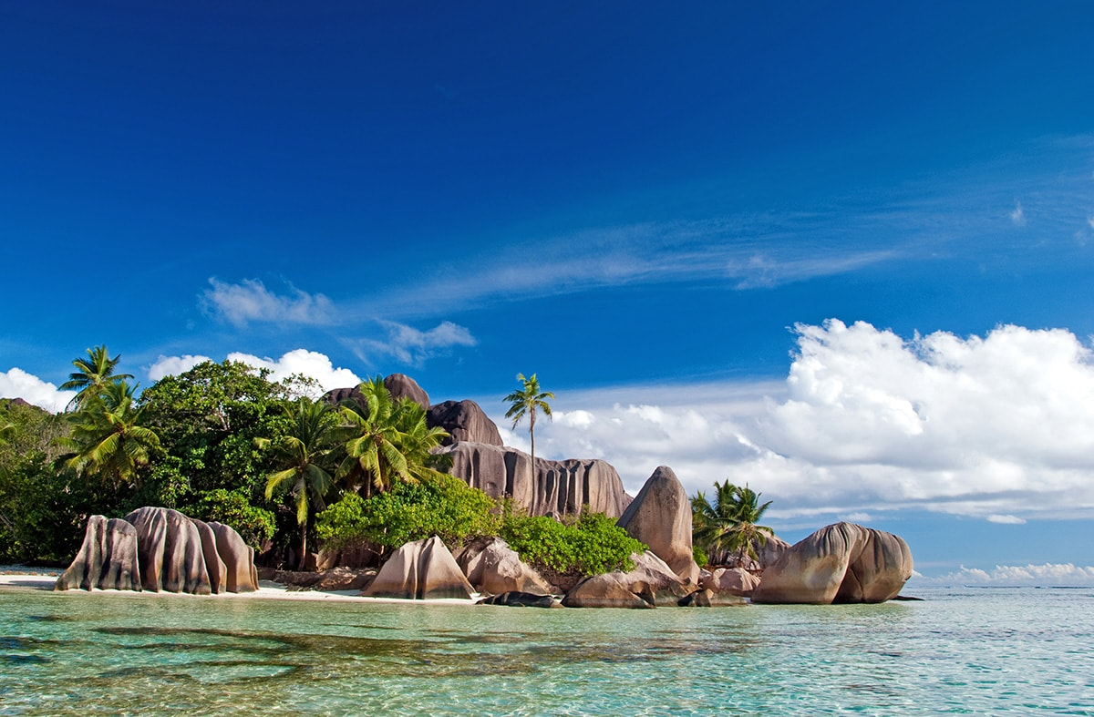 Beach in La Digue island. Seychelles are the only granitic mid-oceanic islands in the world