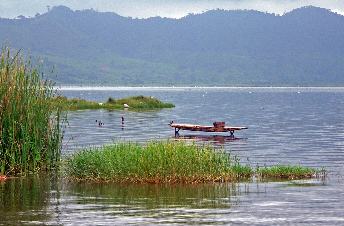 Lake Bosumtwi in Ghana with the local wooden boat - padua