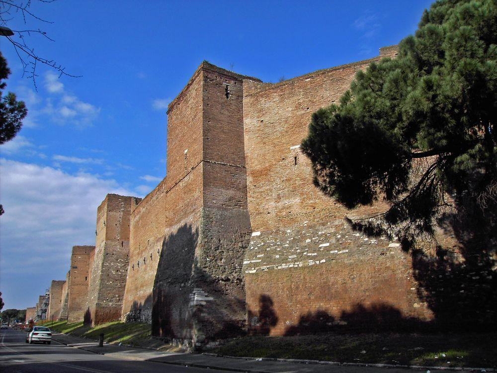 Aurelian walls - ancient fortifications in Rome, Italy