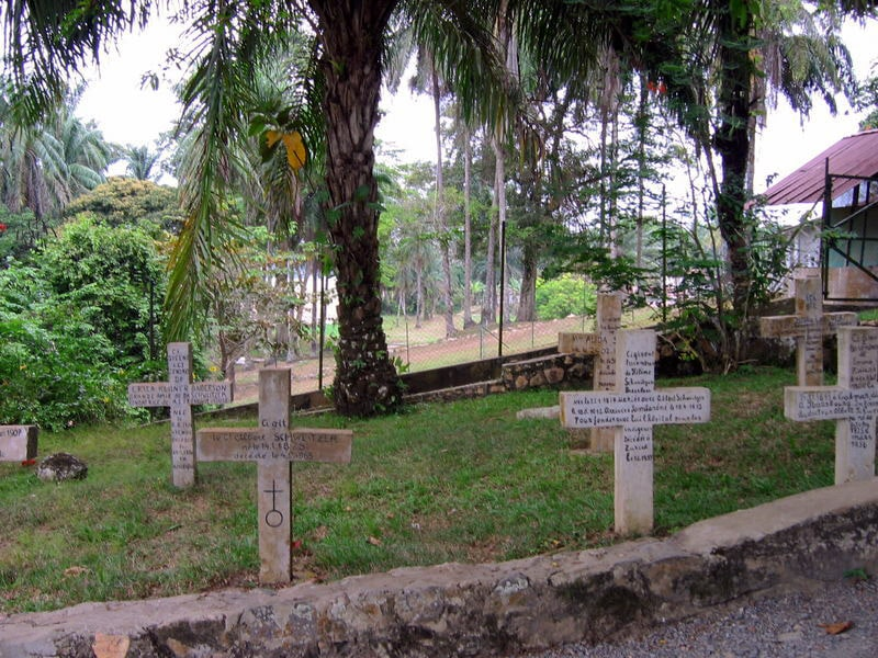Tomb of Albert Schweitzer near his hospital in Lambaréné, Gabon