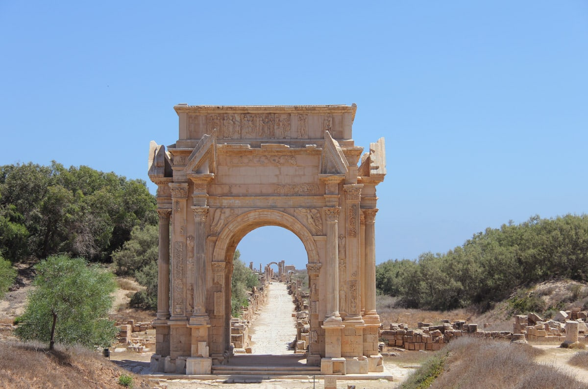 Arch of Septimius Severus and central street, Libya