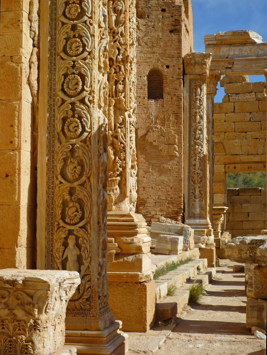 Basilica with reliefs depicting human inception and growth, Leptis Magna in Libya
