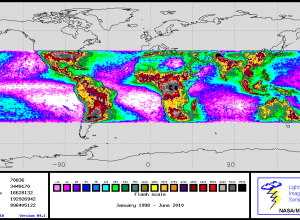 Frequency of lightning strikes in tropical belt of Earth, 1998 - 2010
