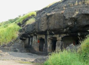 Lonad Caves in Maharashtra, view of entrance portal