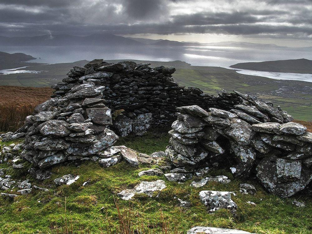 Remains of some 1500 years old drystone tower in Dingle Peninsula, Ireland