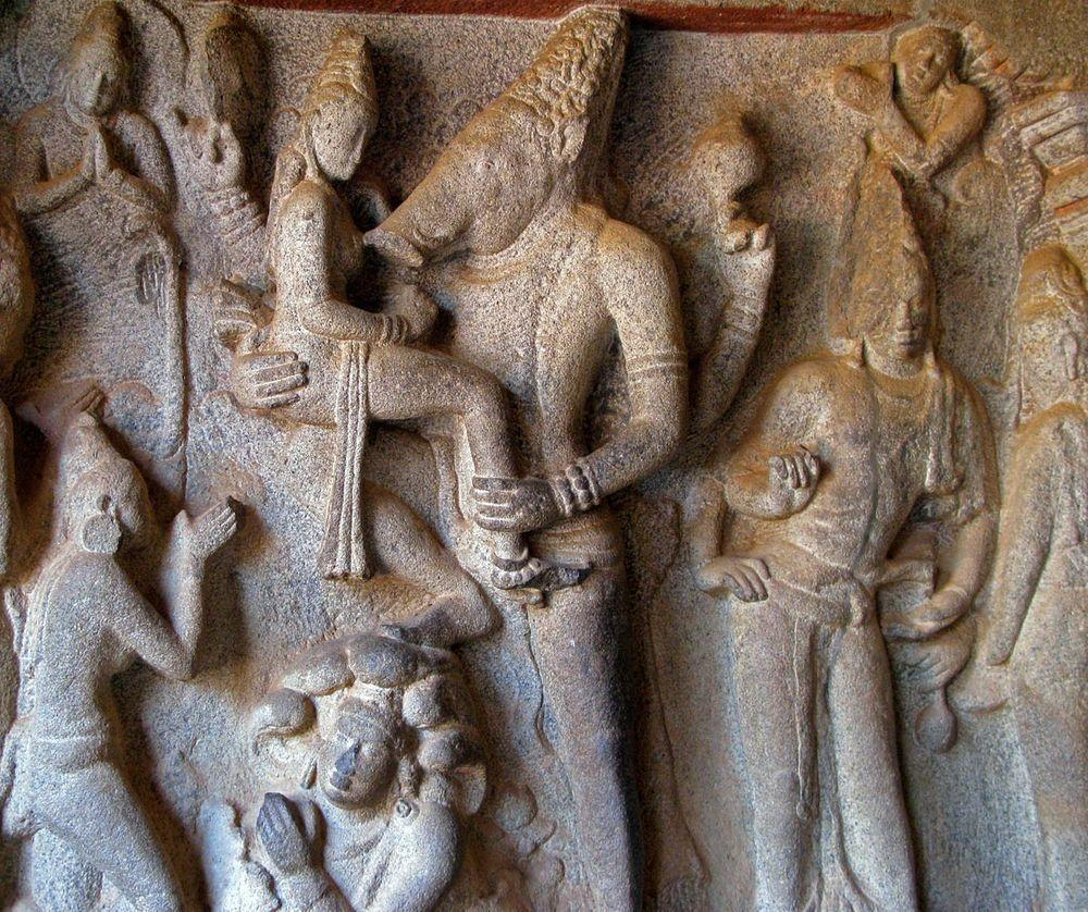 Sculptural group with Varaha, Varaha Cave Temple in Tamil Nadu