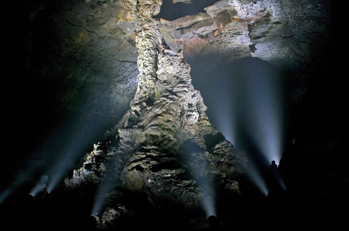 World's largest lava column in Manjang Cave, South Korea