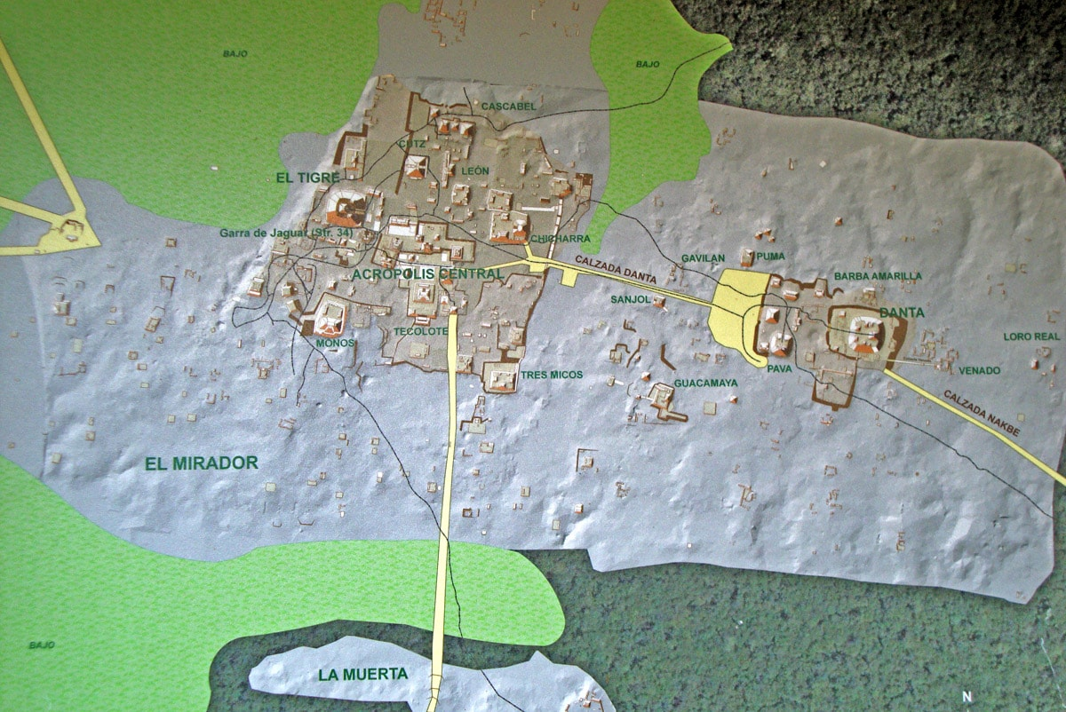 Map of the central part of El Mirador, Guatemala