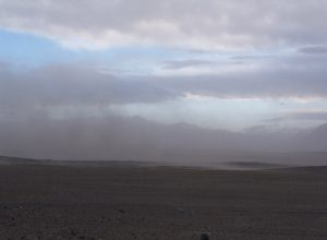 Dust storm in Markansu dry valley - Valley of Tornadoes, Tajikistan