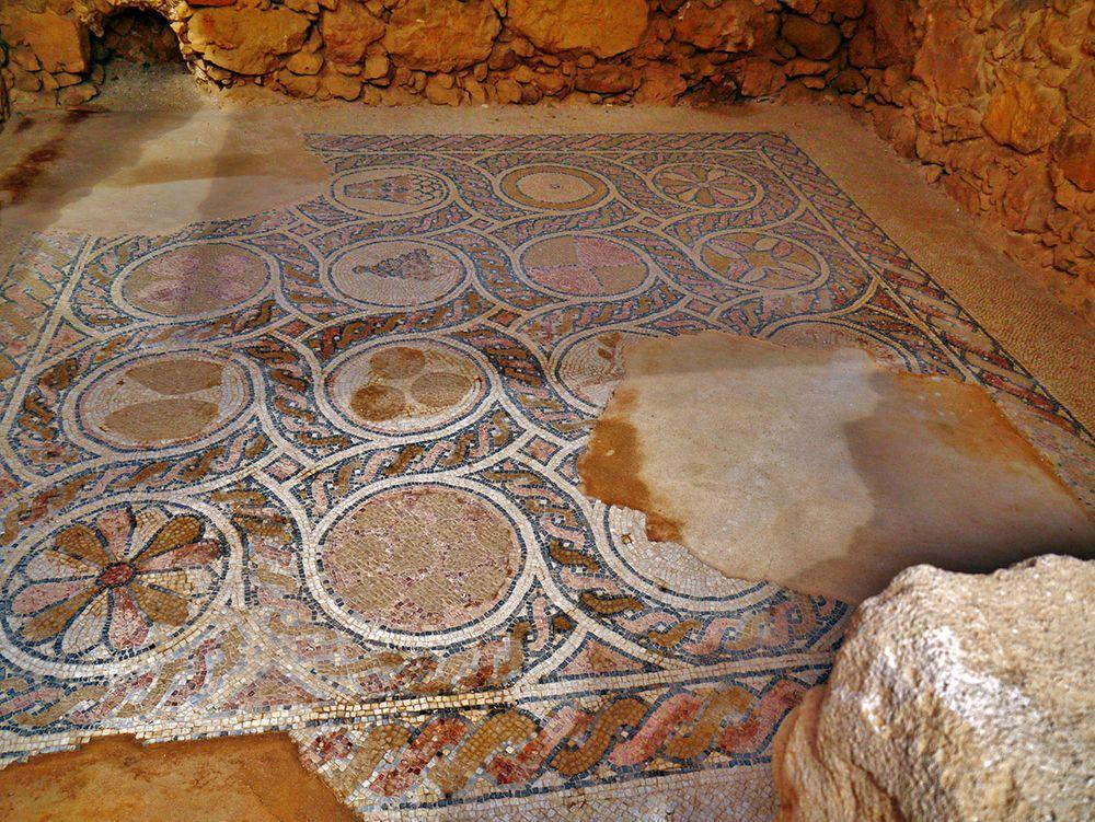 Mosaic on the floor of Byzantine church in Masada, Israel