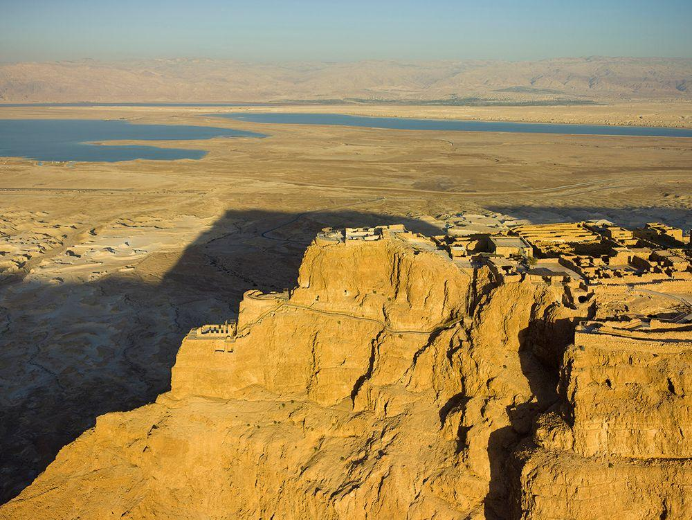 Northern Palace with terraces on the precipice in Masada, Israel