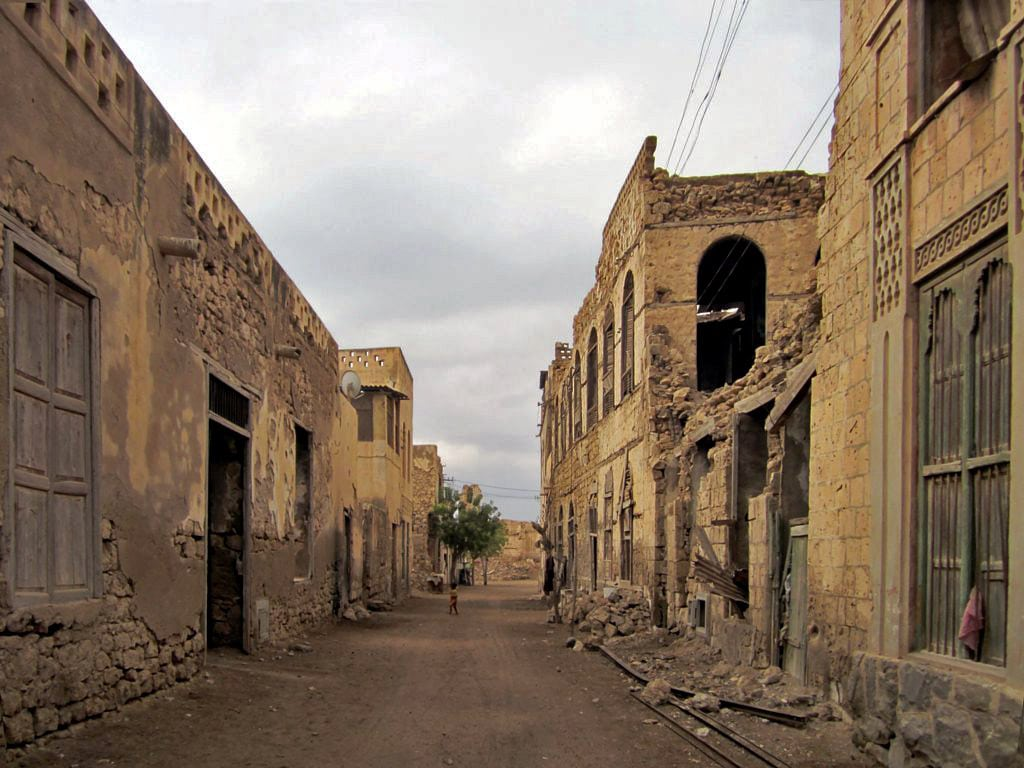 Streets of Massawa Old City. City looks dilapidated after heavy bombardment and neglect - but many values are there and are waiting for better times