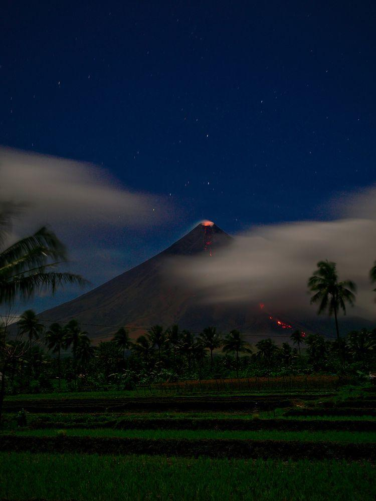 Eruption of Mayon Volcano in the night, Philippines
