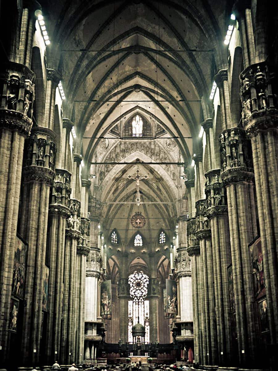 Interior of Milan Cathedral. This is the highest nave of a completed Gothic cathedral in the world - 45 m