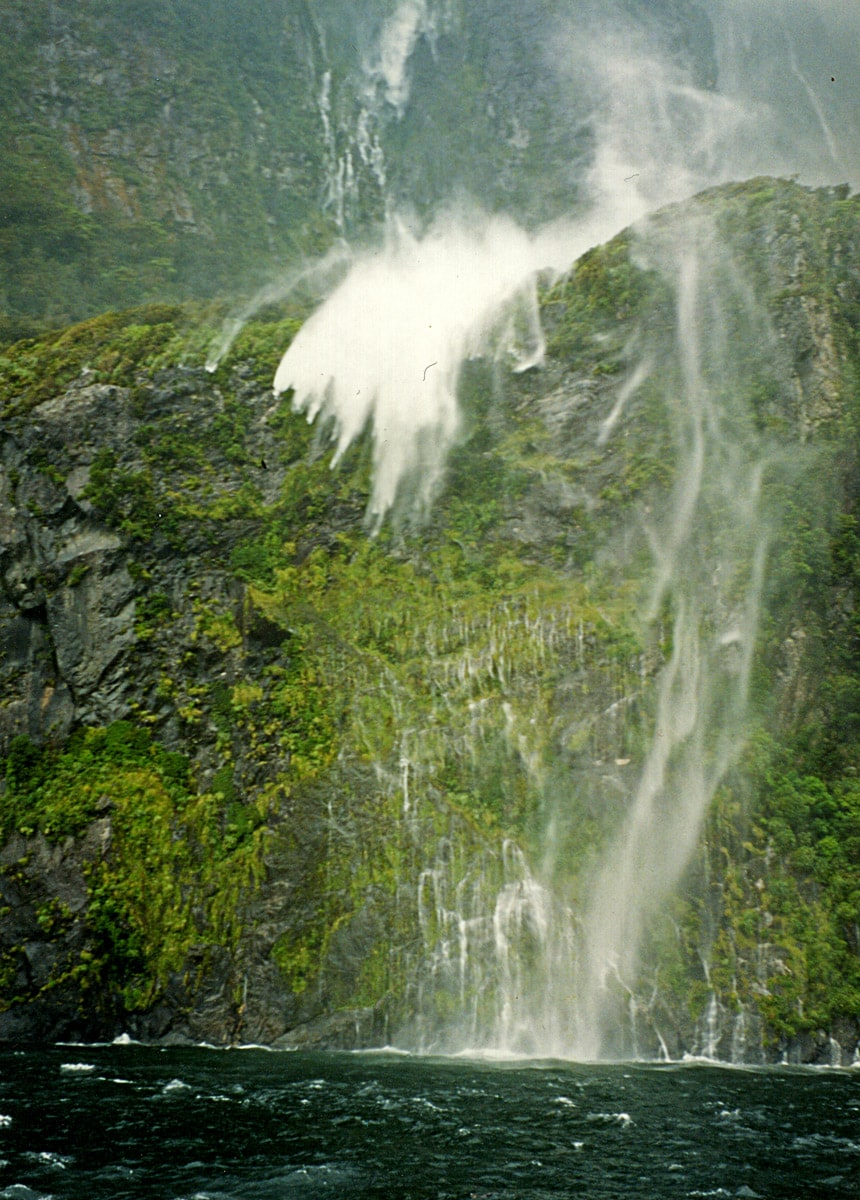Milford Sound. This waterfall is more than 100 m high
