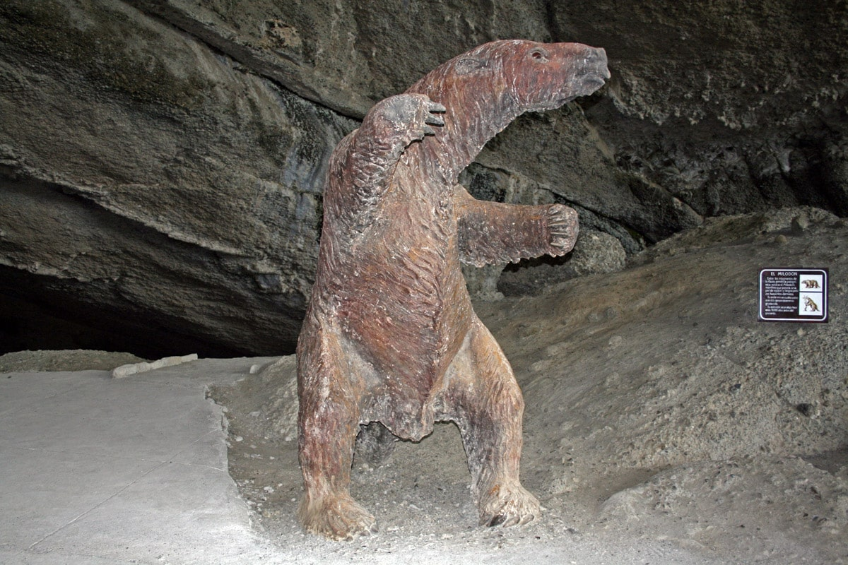 The sculpture of Mylodon darwini in Milodon Cave, Chile