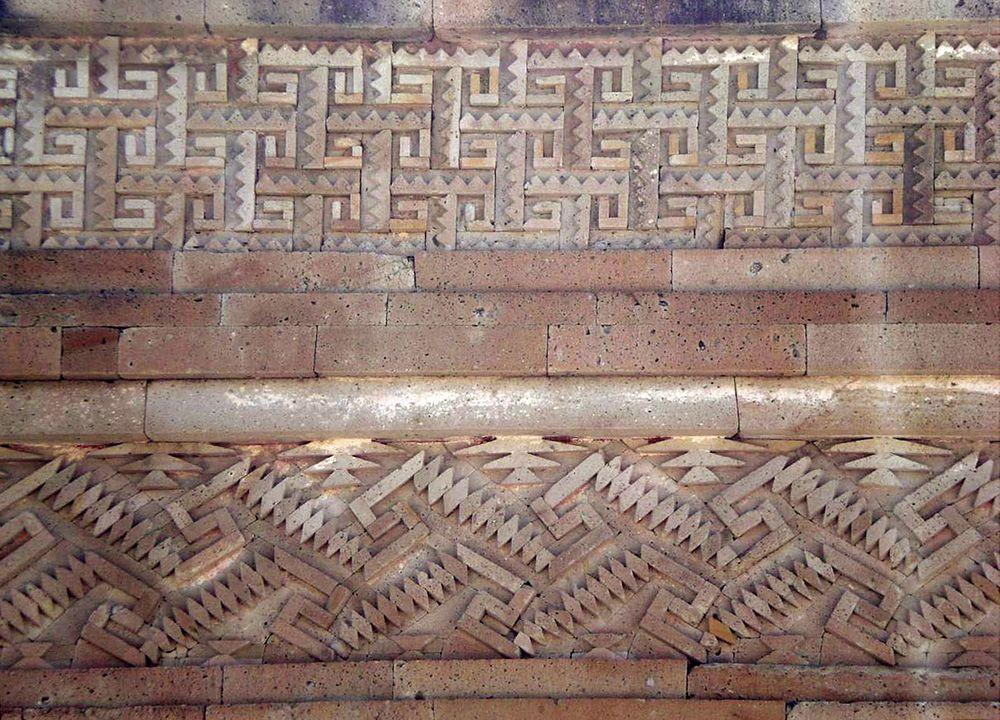 Mitla in Mexico, mosaic fretwork of the wall