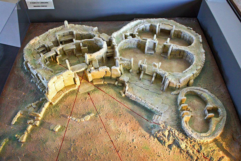 Model of Mnajdra temples in Malta. Upper temple to the right, lower temple to the left and middle temple - in the middle