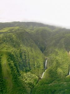 Moa'ula Falls from the air. Far right side shows a glimpe of Hipuapua Falls