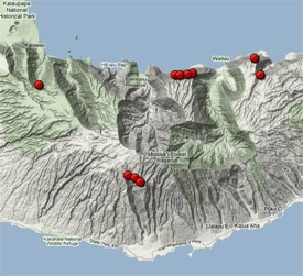 Map of 12 best waterfalls in Molokai Island