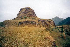 One of hilltop fortreses in Rapa Iti, Morongo Uta