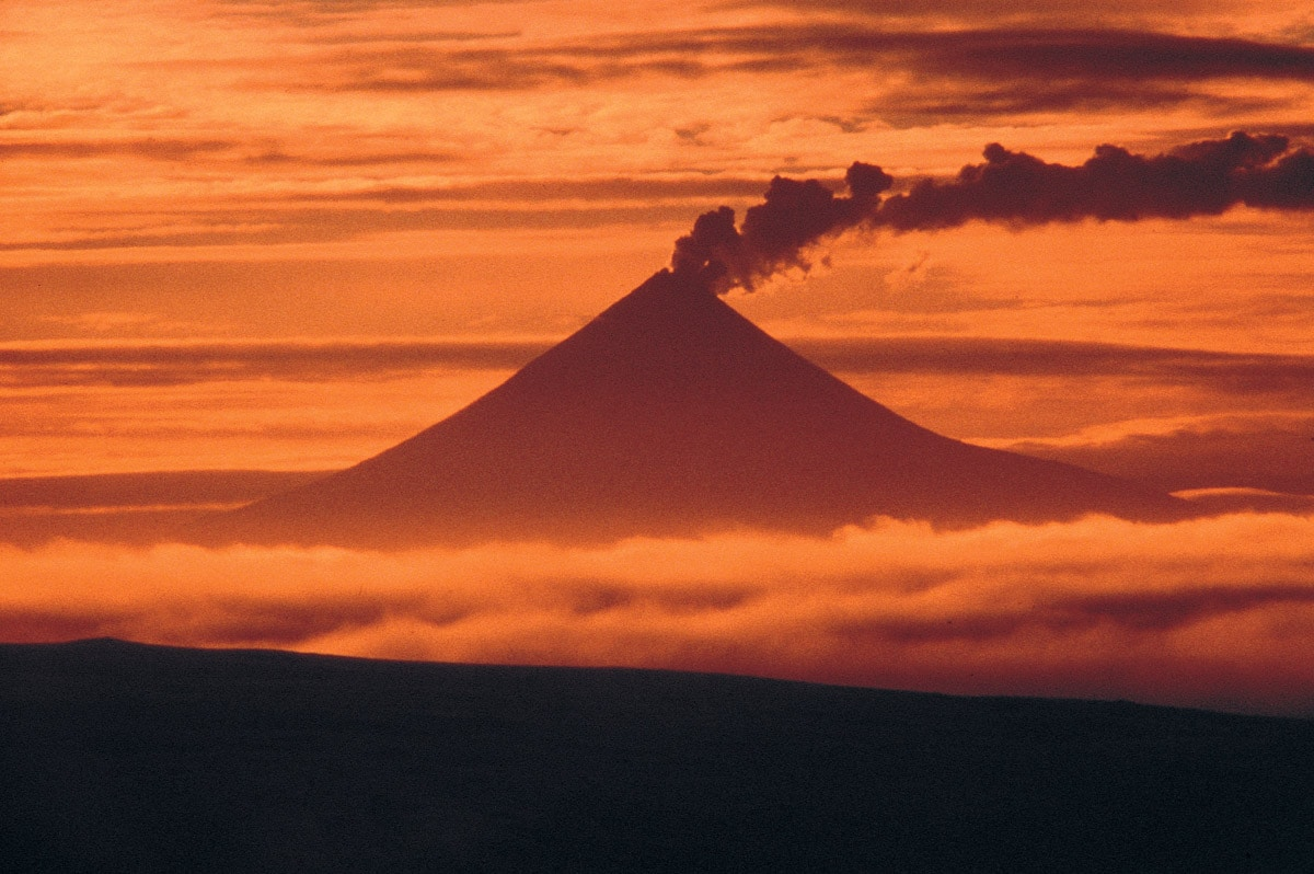Mount Shishaldin at sunset, Aleut Islands