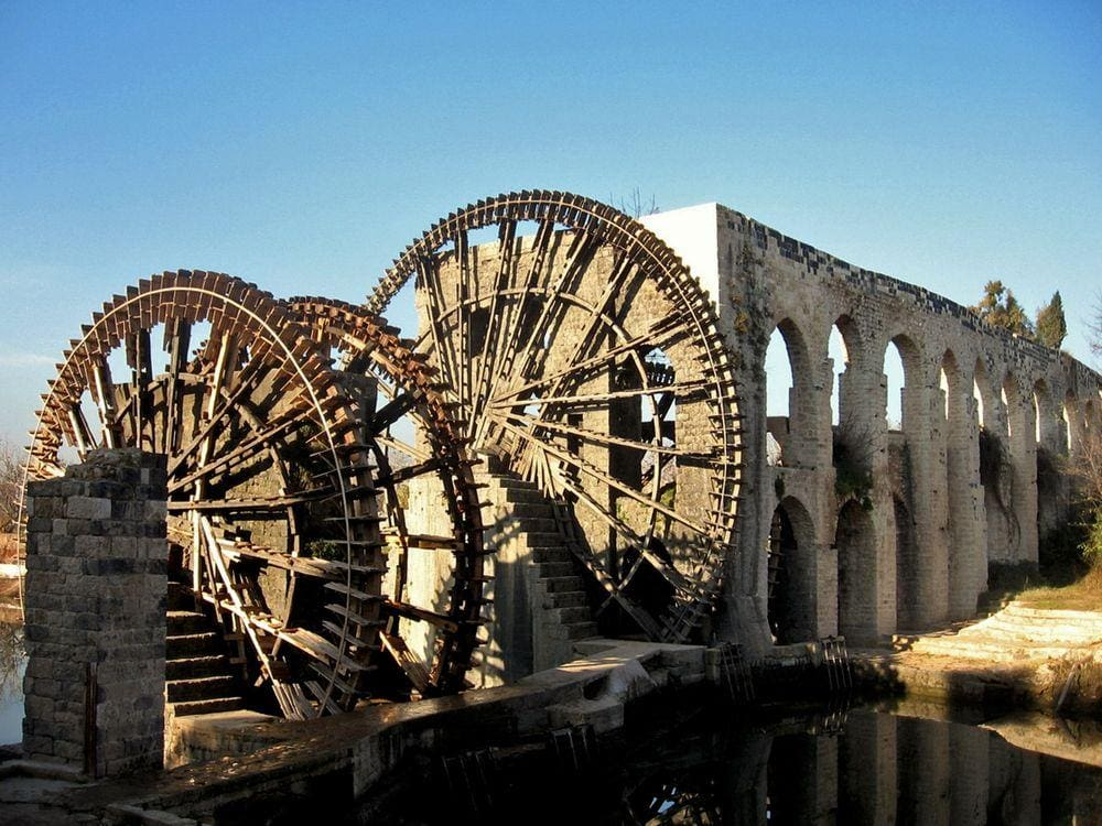 The ancient waterwheel - noria in Hama City, Syria