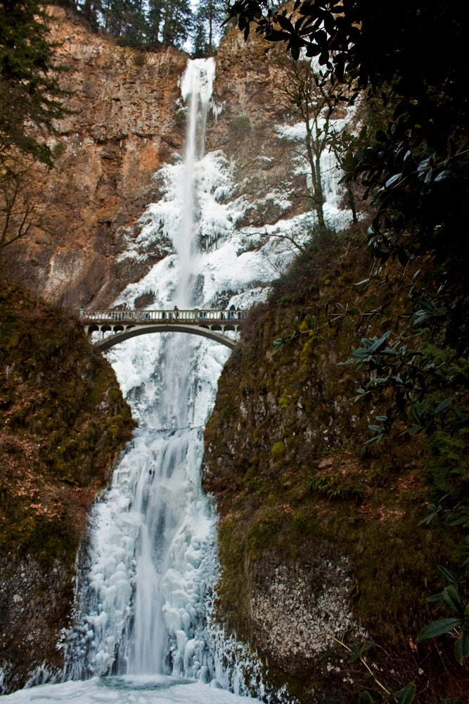 Multnomah Falls in winter, Oregon