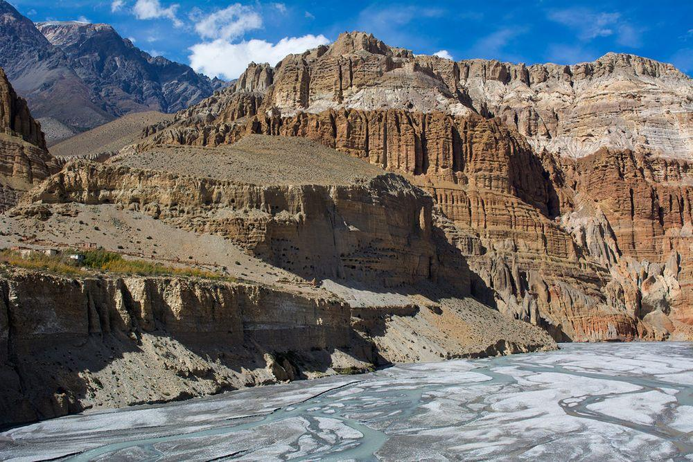 Man made caves in Upper Mustang Valley, Nepal