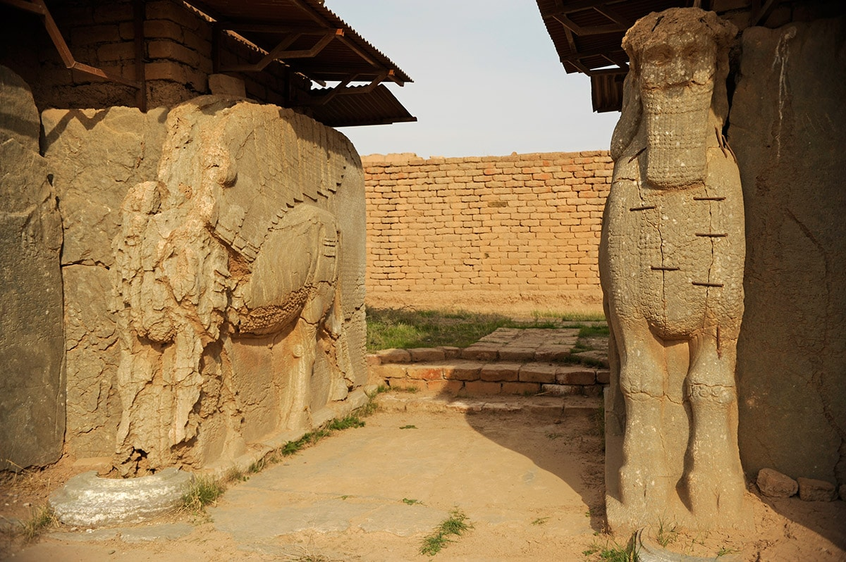 Sculptures of lamassu in Nimrud, entrance in the North-West Palace, Iraq