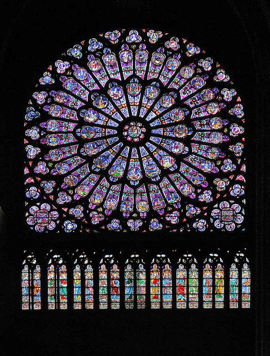 Notre Dame de Paris Cathedral, rose window from the inside
